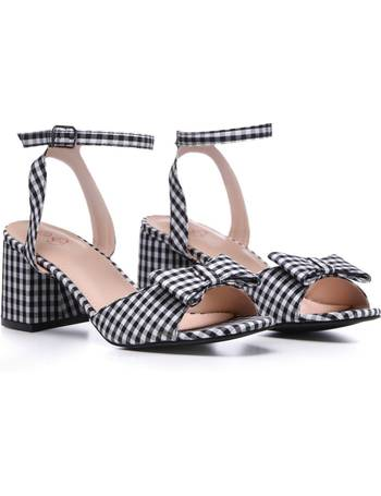 c063b4c631 Black and White Gingham Bow Feature Low Block Heel Sandals from KOI Footwear