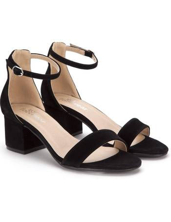 5c84ea556c Low Block Heel Black Suede Sandals with Ankle Strap from KOI Footwear