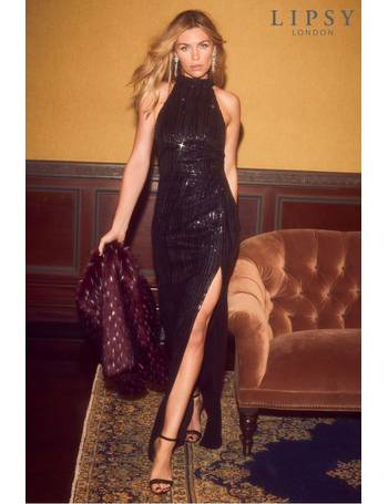 ee013fa2cf Abbey Clancy x Petite Sequin Halterneck Maxi Dress from Next