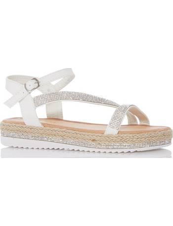 1f512a6f4f75 White Diamante Slant Flat Sandal from Quiz Clothing
