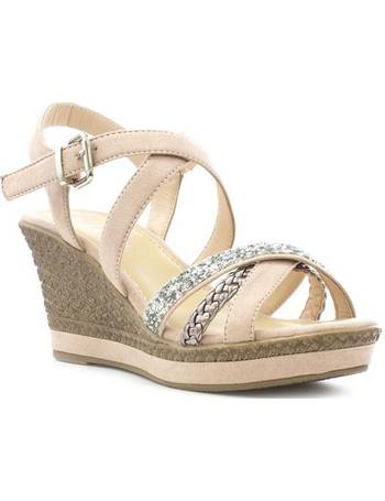 22f5dc89ee6 Lilley. Womens Nude Cross Strap Wedge Sandal