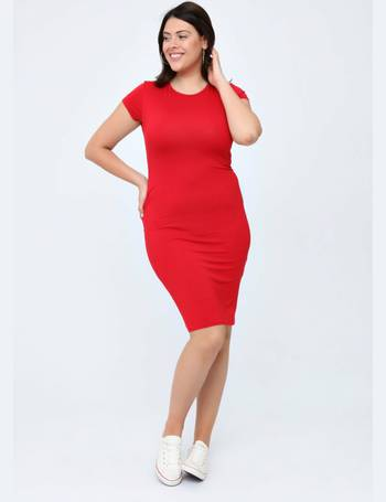21351d3222 Plus Veronica Cap Sleeve Midi Red Dress from Pink Clove