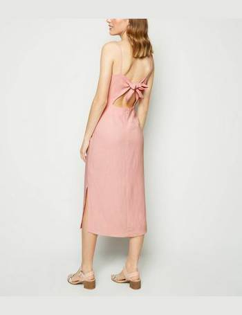 37e38894660 Pink Linen Look Tie Back Midi Dress New Look from New Look