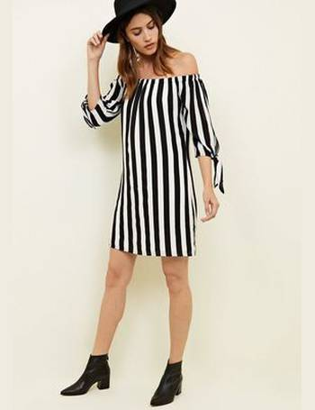 Black Stripe Bardot Dress New Look from New Look f1e75c7c8