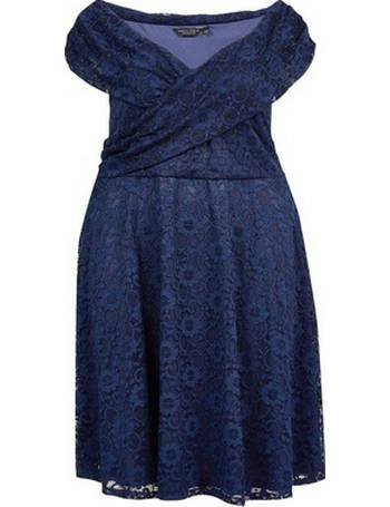 8d9d64c3da Womens Dp Curve Navy Lace Bardot Fit And Flare Dress- Blue from Dorothy  Perkins