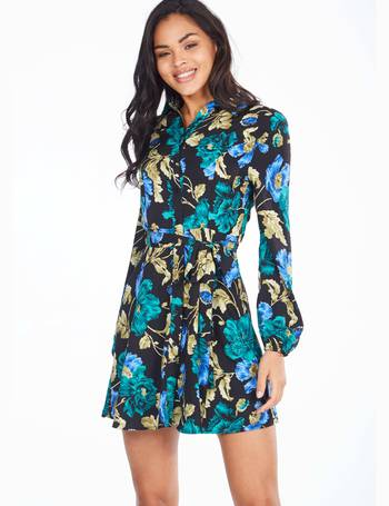 fc5db58c88ae NELLA - Long Sleeve Buttoned Front Floral Print Dress from Blue Vanilla