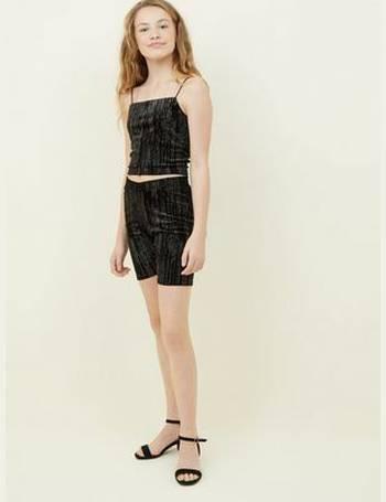 891920b45b3d Girls Black Glitter Stripe Velvet Cami New Look from New Look