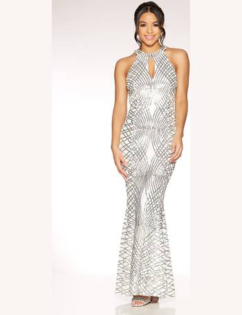 7efbfe96e84 Silver Sequin and Mesh Fishtail Maxi Dress from Quiz Clothing