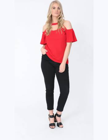a84e810725bf35 Plus Imogen Cold Shoulder Cut Out Top in Red from Pink Clove