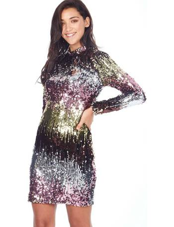 4e5a14be MILEY - High Neck Ombre Multi Sequin Dress from Blue Vanilla