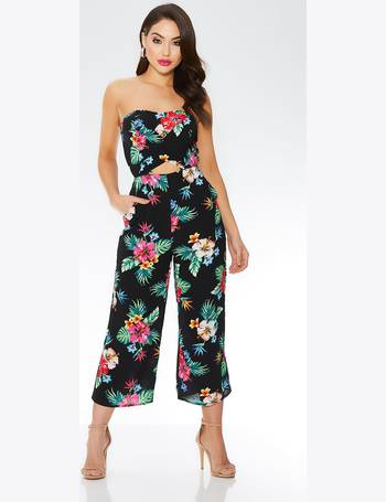 290310beffe Black Floral Print Bandeau Culotte Jumpsuit from Quiz Clothing
