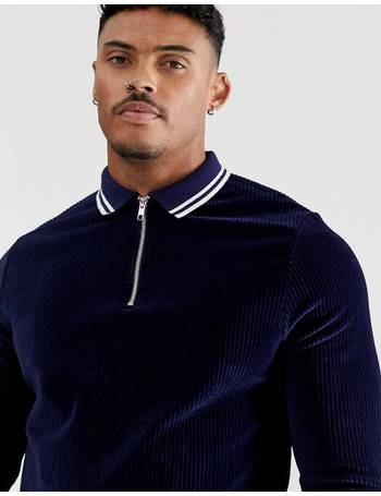 1198f080318 long sleeve polo shirt with zip neck in ribbed velour with contrast tipping  from ASOS