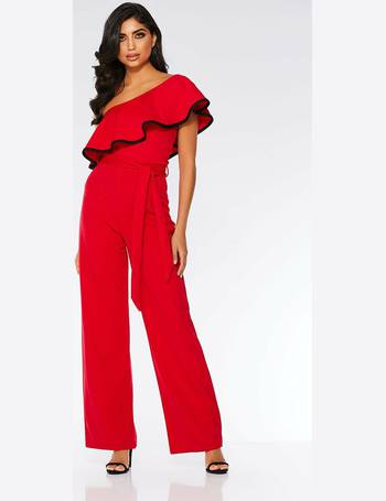 8a5c374d25 Red and Black Frill Wide Leg Jumpsuit from Quiz Clothing