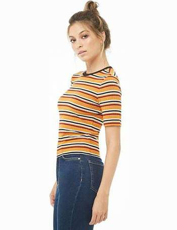 fbe0b594fe68d4 Shop Forever 21 Women's Striped T-shirts up to 75% Off | DealDoodle