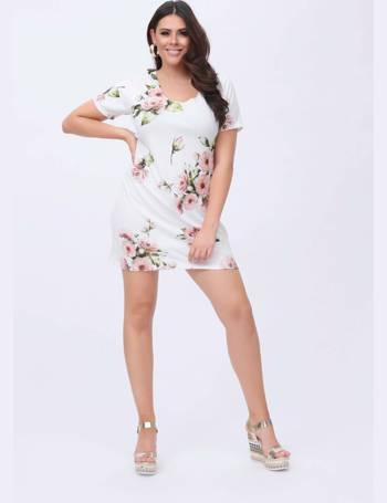 f4ef982764 Plus Mina White Floral Print Short Sleeve Shift Dress from Pink Clove