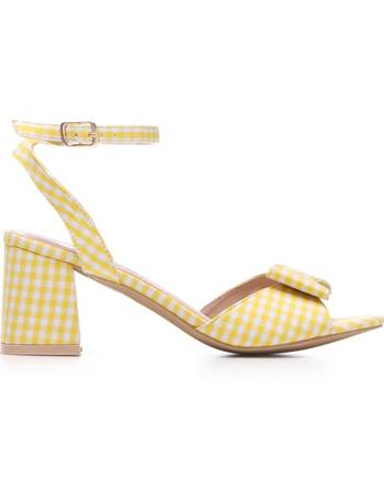 5235a39eb9 Yellow and White Gingham Bow Feature Low Block Heel Sandals from KOI  Footwear