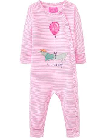 Joules Baby Gracie Appllique Babygrow in NEON MAUVE
