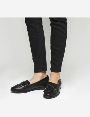 Womens Office Fixate Chunky Trim Loafers Black Leather Flats