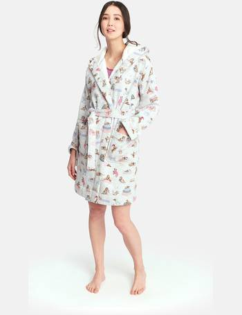 963a5a4a1c Idlewhile Printed jersey dressing gown with fluffy inner from Joules