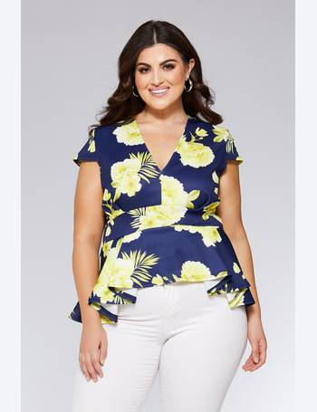 81b83dbc2881fc Curve Navy And Yellow Floral Peplum Top from Quiz Clothing