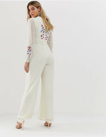 6676212a button front wide leg jumpsuit in bird and sequin embroidery in cream from  ASOS