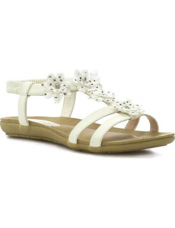 Womens Sandal Flat Sandal Lace Trim and Flower in Beige by Lilley