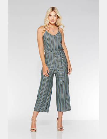 385a1d90819d Blue And Green Glitter Stripe Culotte Jumpsuit from Quiz Clothing