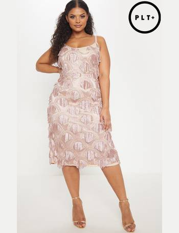 59520c94 Plus Dusty Pink Tassel Sequin Strappy Midi Dress from Pretty Little Thing