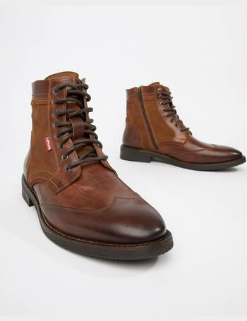 69ef9908 Levi's. whitfield leather boot with suede detail in medium brown