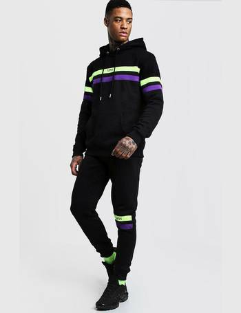 8c1416d23411 Original MAN Contrast Panel Hooded Tracksuit from boohooMan