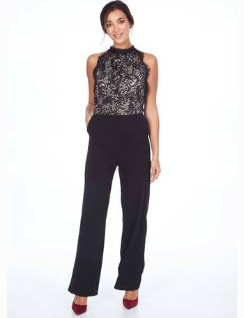 06b4f06981 DOROTHY - Cut Away Lace Top Black Jumpsuit from Blue Vanilla