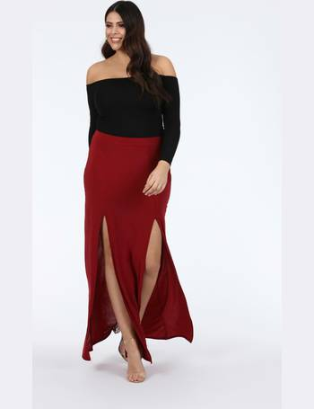 18e7a261fbd Plus Kalila Wine Double Split Maxi Skirt from Pink Clove