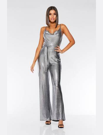33d85df1db57 TOWIE Silver Foil Cowl Neck Palazzo Jumpsuit from Quiz Clothing