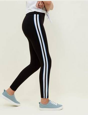 145b1577b181d Girls Black Side Stripe Piping Leggings New Look from New Look