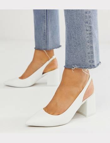88cae597c78 Wide Fit Samson slingback mid heels in white