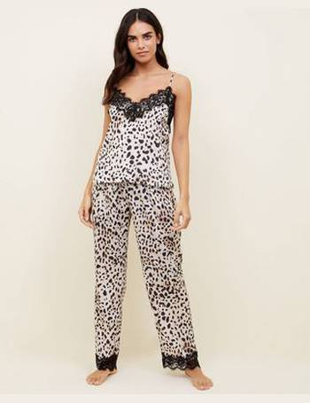 9d926fc11b0 Off White Satin Leopard Print Pyjama Trousers New Look from New Look