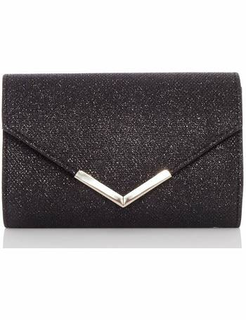 6e20e05192c72 TOWIE Black Shimmer Envelope Bag from Quiz Clothing