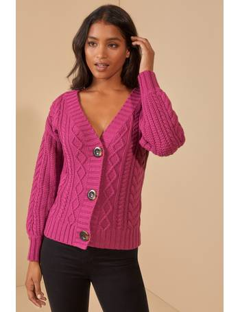 Joe Browns Womens Hooded Chunky Cable Knit Cardigan Red