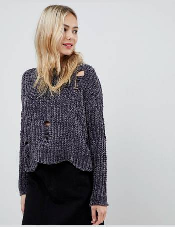 Cropped Chenille Jumper with Distressed Hem from ASOS. Quick View · Stella  Morgan 59f6da52b