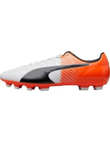 e858d73fc Junior evoSPEED SL Synthetic II AG Football Boots Puma White Puma  Black Shocking Orange