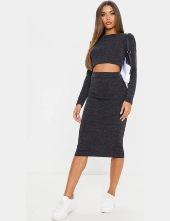 Steffany Black Slinky Long Line Midi Skirt Pretty Little Thing