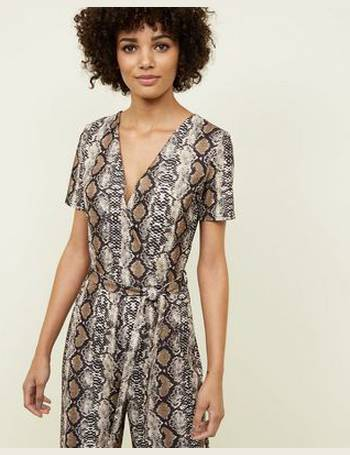 58a134dd28 Brown Snake Print Wrap Jumpsuit New Look from New Look. Quick View · Cameo  Rose