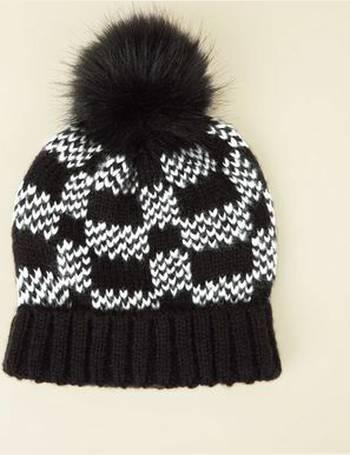 90f2c7831 Black Checkerboard Faux Fur Bobble Hat New Look