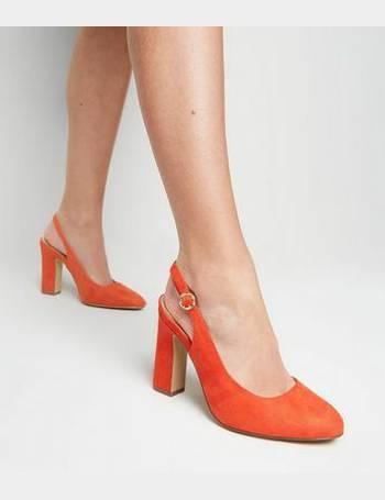d6b6d88fabd6 Wide Fit Orange Suedette Block Heel Slingbacks New Look from New Look