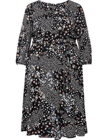 Dorothy Perkins Womens Billie /& Blossom Curve Black /& Pink Midi Skater Dress