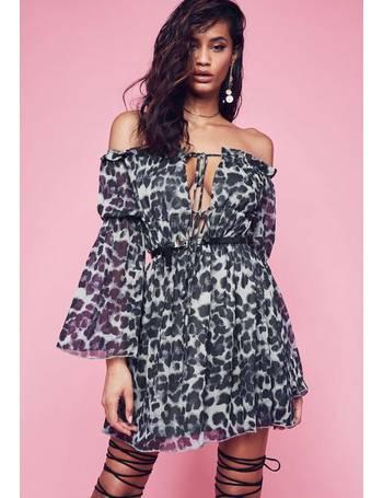92fdd3ddda Black Bardot Animal Print Chiffon Mini Dress from Missguided