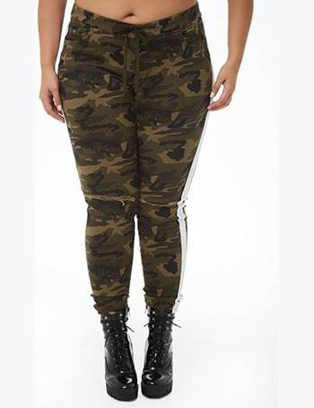 779f3960b88 Plus Size Distressed Striped-Trim Camo Jeans from Forever 21