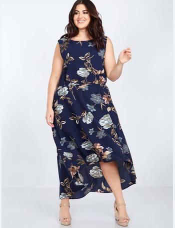 a9f7040911 MAVEN - Hi-Low Floral Printed Navy Maxi Dress from Blue Vanilla
