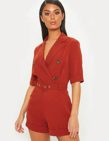 aa48adedbd Rust Brushed Satin Tortoiseshell Button Playsuit from Pretty Little Thing