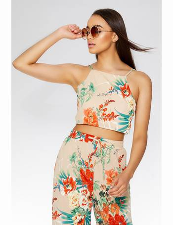 4e5d40536 Stone And Orange Floral Crop Top from Quiz Clothing